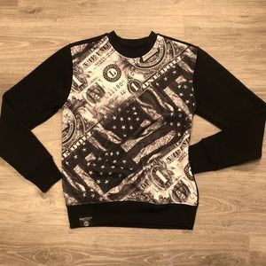 Switch American flag and dollars sweater shirt